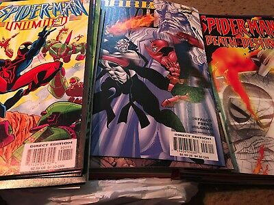 Box of 50 Comic Books Marvel,DC,Other Publishers NO duplication mostly spiderman