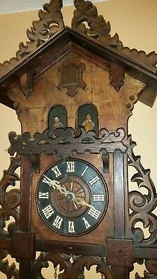 VERY-RARE-ANTIQUE-Bahnhausle-Weather-House-CUCKOO-CLOCK--WORKING