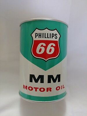 NOS~1960's PHILLIPS 66-MM~ALL METAL CAN~Motor-Oil-20/20W-1 qt-FULL
