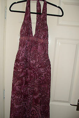 *new* 100% Silk Dave And Johnny By Laura Ryner Pink Purple Gown Dress Prom Uk6