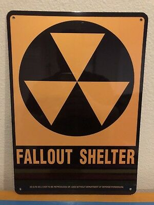 FALLOUT SHELTER SIGN / ALUMINUM 10x14