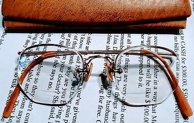 Vintage Antique 12k Gold Wire Bifocal Eye Glasses w/ Leather case