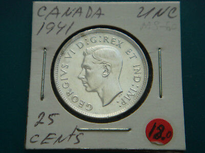 1941 CANADA Silver (.800) 25 Cents in UNC,Condition.