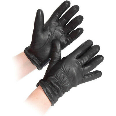 Shires Sutton Leather Unisex Gloves Everyday Riding Glove - Black All Sizes