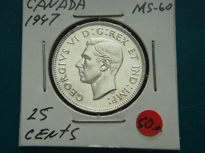 1947 CANADA Silver (.800) 25 Cents in UNC Condition.