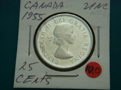 1955 CANADA Silver (.800) 25 Cents in UNC.Condition.