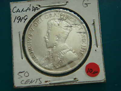 1919 CANADA Silver (.9250) 50 Cents in Good Condition.