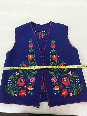 Blue Vintage Hungarian Hand Embroidered Folk Vest