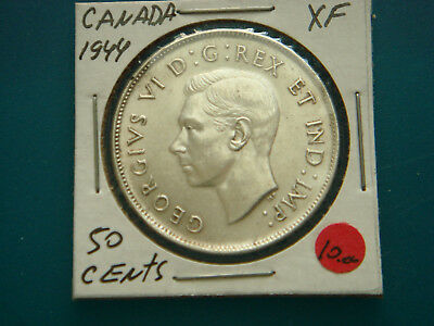 1944 CANADA Silver (.800) 50 Cents in XF+ Condition.