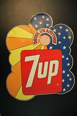 """Vintage Original 7UP DRINK UN ANYTIME Decal Sign 16"""""""" x 12"""" FasCal DUROCHROME"""
