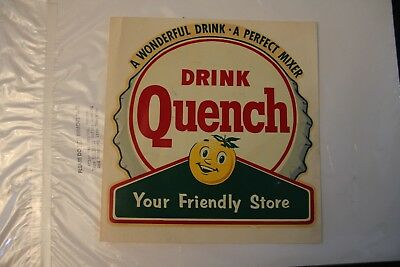 "Vintage Original Quench Soda Decal Transfer 7"" x 9"" BottleCap and Lemon"