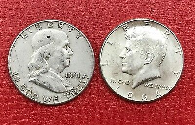 90 % Silver, 2 Coins silver half dollar lot of 2 $1.00 face Franklin And Kennedy