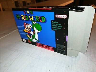 Super Mario World Box Only, SNES Nintendo Replacement Art Case/Box !!!