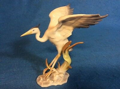 "Hutschenreuther Heron Bird Porcelain Figurine 5 1/4"" Tall Made In Germany Chip's"