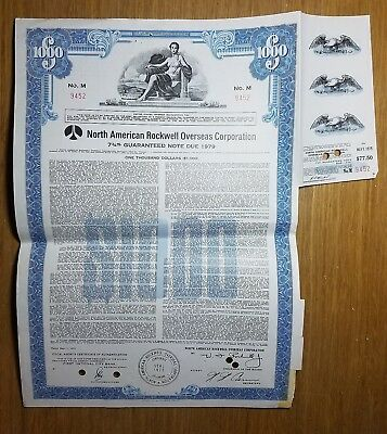 1972 North American Rockwell Bond Certificate with Coupon Attached