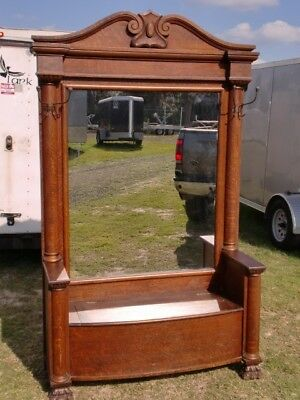 large oversized antique oak claw foot hall seat