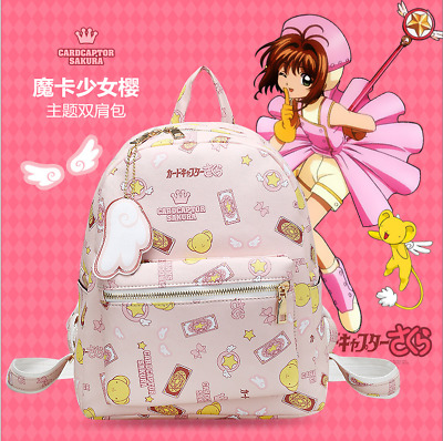 Anime Card Captor Sakura pink backpack Satchel Girl Bag Handbag Schoolbag
