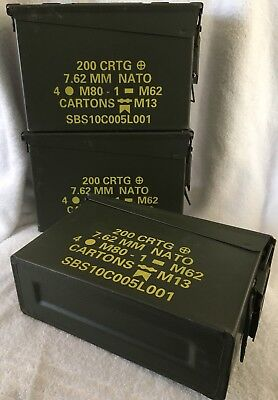Lot Of 3 30 Cal Ammo Can Box  Army Military M19A1 Metal Storage 7.62 MM
