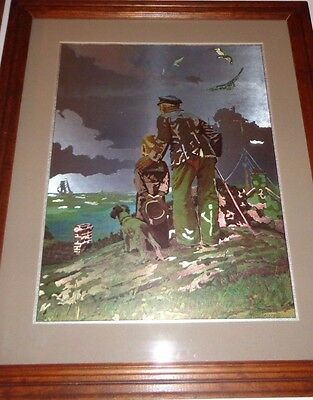 """Norman Rockwell  """"outward bound"""" foil etch - looking out to sea- ship boy"""