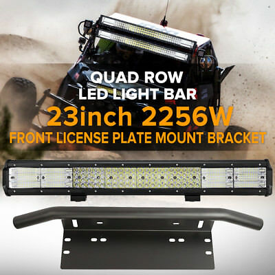 23inch 2256W QUAD ROW LED Light Bar + Number Plate Frame Mount Bracket Bull Bar