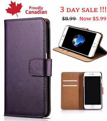 PurpleiPhone 6, iPhone 7, iPhone 8 leather wallet case with Card Slots