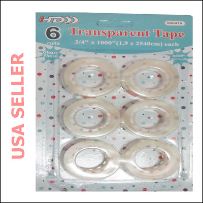 "!New! Clear Transparent Tape Rolls 3/4 x 1000"" Dispenser-Refill (6,12,18,24) F-S"