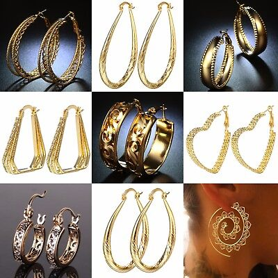 Fashion Women 18k Yellow Gold plated Stud Hoop Dangle Earrings Wedding Jewelry