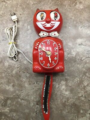 Vintage 1960s Red D8 Kit Cat Klock, Jeweled, Good Working Condition