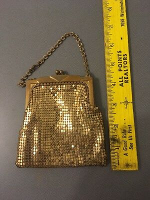 Whiting & Davis Vintage Gold Mesh Coin Purse on Chain