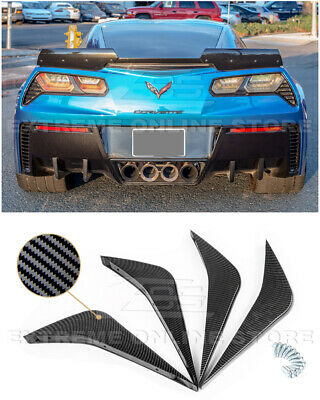 For 14-Up Corvette C7 PAINTED BLACK Rear Bumper Lower Air Diffuser Fin 2 Pairs