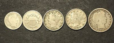 Lot of Assorted Silver Coins. 1868 Shield Nickel. Barber Dime. And more.........
