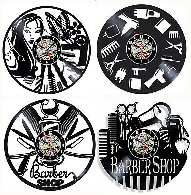 Barber Shop Hairdresser's Vinyl Record Wall Clock Hair Salon Modern Art Gift