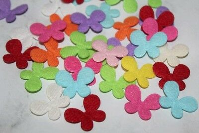 20/50pcs Padded Small Felt Butterfly Applique Mix Colours