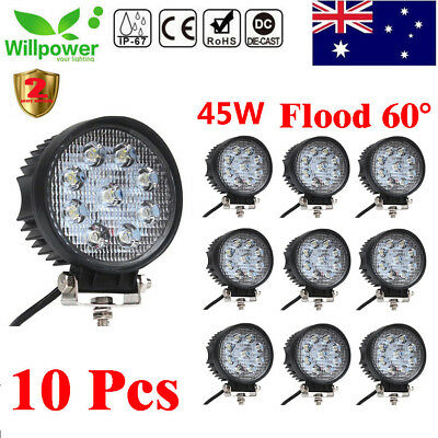 10x 45W LED Work Light CREE Round Off Road 4x4 Truck Boat 12V 24V Flood Lamps 27