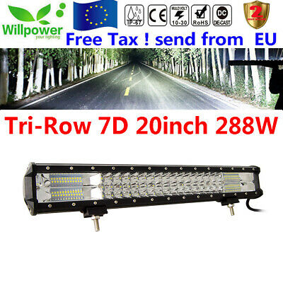 20inch 7D 288W Tri Rows Combo Beam SUV truck offroad car led light bar 12/24V
