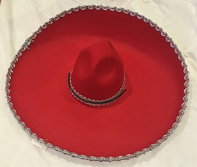 Adult Mens Womens Mexican Costume Sombrero Hat Red Silver Trim Party Dress