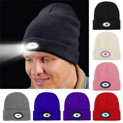 6 LED Light Cap Beanie Hat Knit Rechargeable Flashligh Camping Running Fishing A