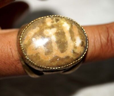 ANTIQUE OLD NATURAL AKIK STONE WRITING ya allah  unisex ring