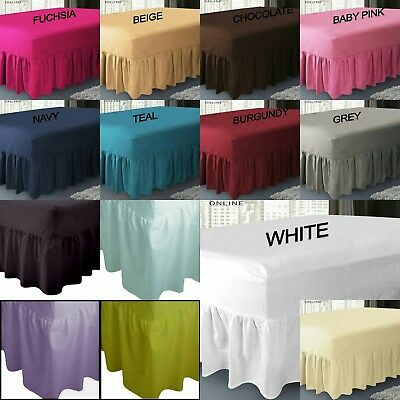 Luxury Fitted Valance Bed Sheet Poly-Cotton Plain Dyed - 14 Colours 4 Sizes