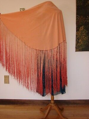 Antique Vtg c 1920s Flapper Silk Round Shawl Ombre Huge Fringe Piano Salmon Red