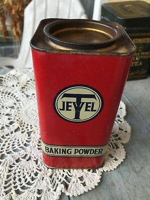 Vintage Tin Metal Jewell Tea Square Can Baking Powder Red One Pound USA Empty