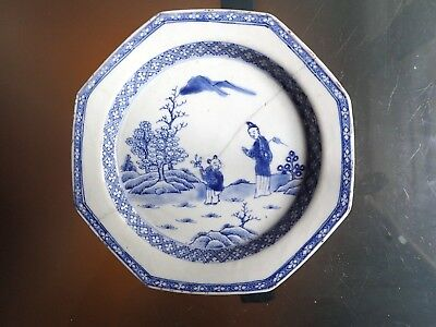 Antique Chinese Export Blue White QIANLONG PERIOD PLATE Porcelain octagonal 18C