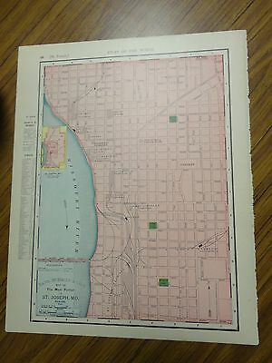 Nice 1895 antique colored map of St. Joseph, MO-Rand, McNally & Co's