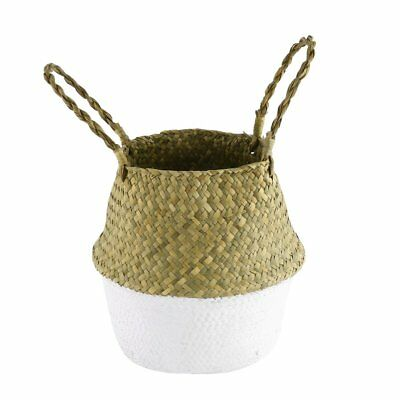 Foldable Seagrass Woven Storage Pot Handmade Flower Hanging Basket With KF