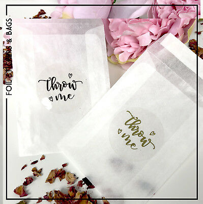 Glassine bags & transparent foil stickers wedding, Throw Me for Confetti x 10