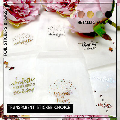 Glassine bags & transparent foil stickers confetti, sprinkle with love, Throw Me