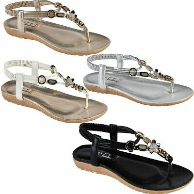 a3febf5d43f9f3 OPIUM Womens Diamante Flat Thong Toe Post Sling Back Padded Insole Sandals