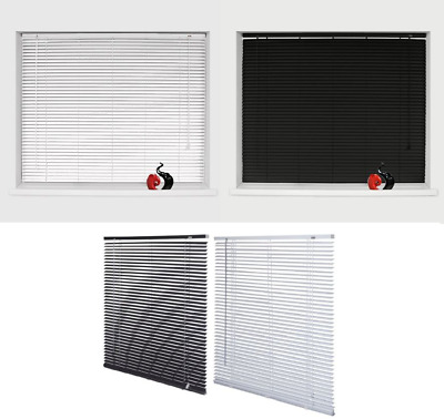 PVC Venetian Blinds Window Blind In Black, White, Natural, Home Office Drop150cm