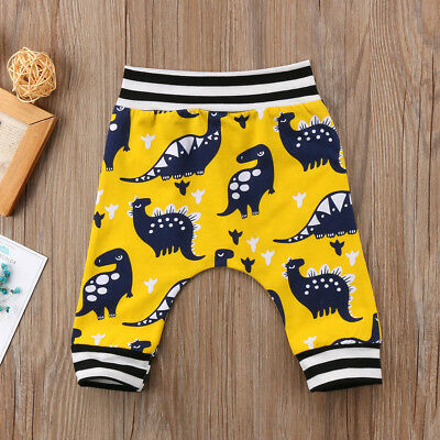 UK Stock Baby Boy Girl Cute Dinosaur Long Pants Casual Leggings Trousers Bottoms