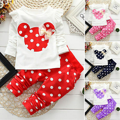 New Baby clothes kids girls cotton tops pants Set Outfits autumn clothing dot AA